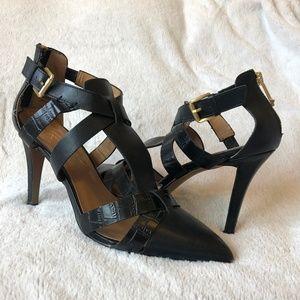Jessica Simpson black leather, buckled sandal heel